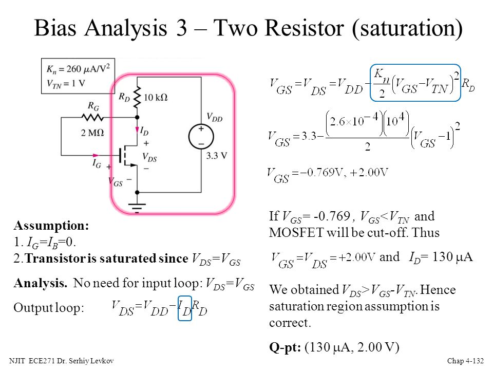 Bias Analysis 3 – Two Resistor (saturation)