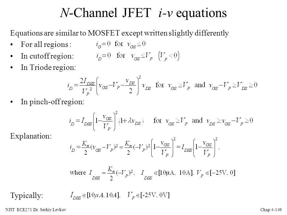 N-Channel JFET i-v equations
