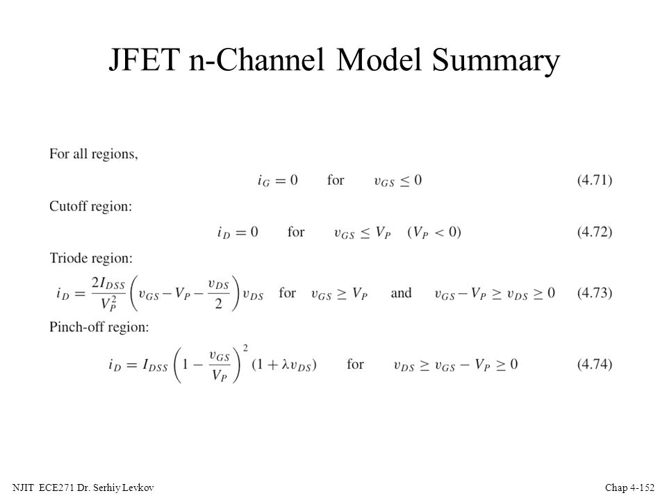 JFET n-Channel Model Summary