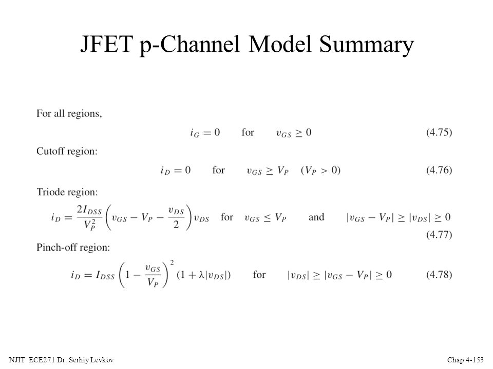 JFET p-Channel Model Summary