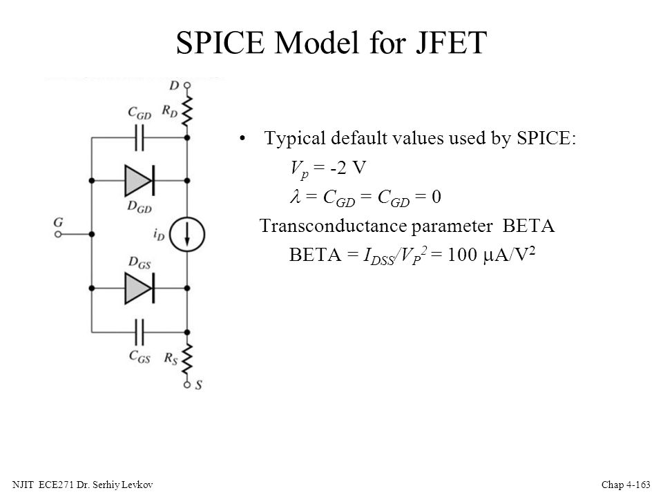 SPICE Model for JFET Typical default values used by SPICE: Vp = -2 V