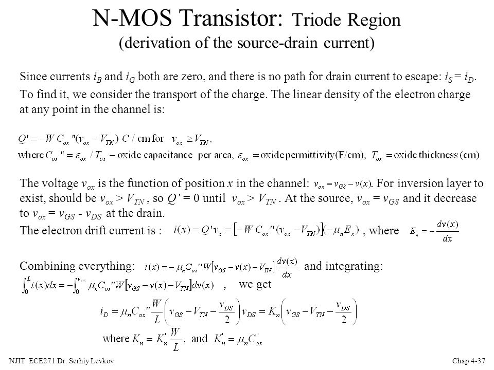 N-MOS Transistor: Triode Region (derivation of the source-drain current)