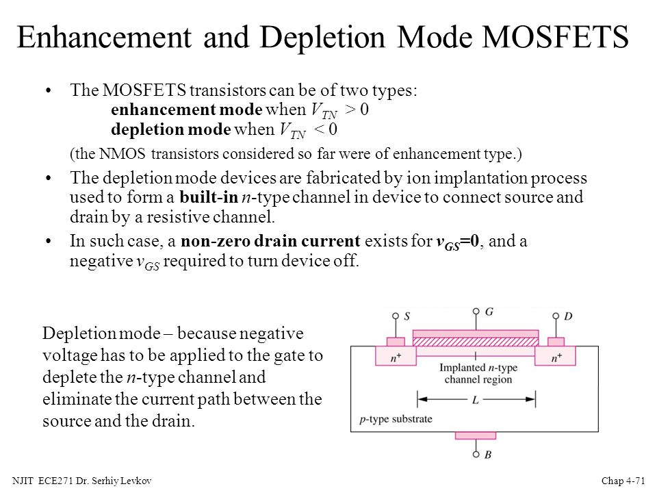 Enhancement and Depletion Mode MOSFETS