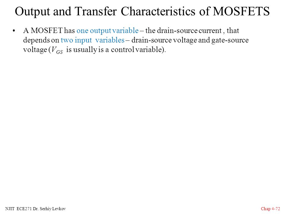 Output and Transfer Characteristics of MOSFETS
