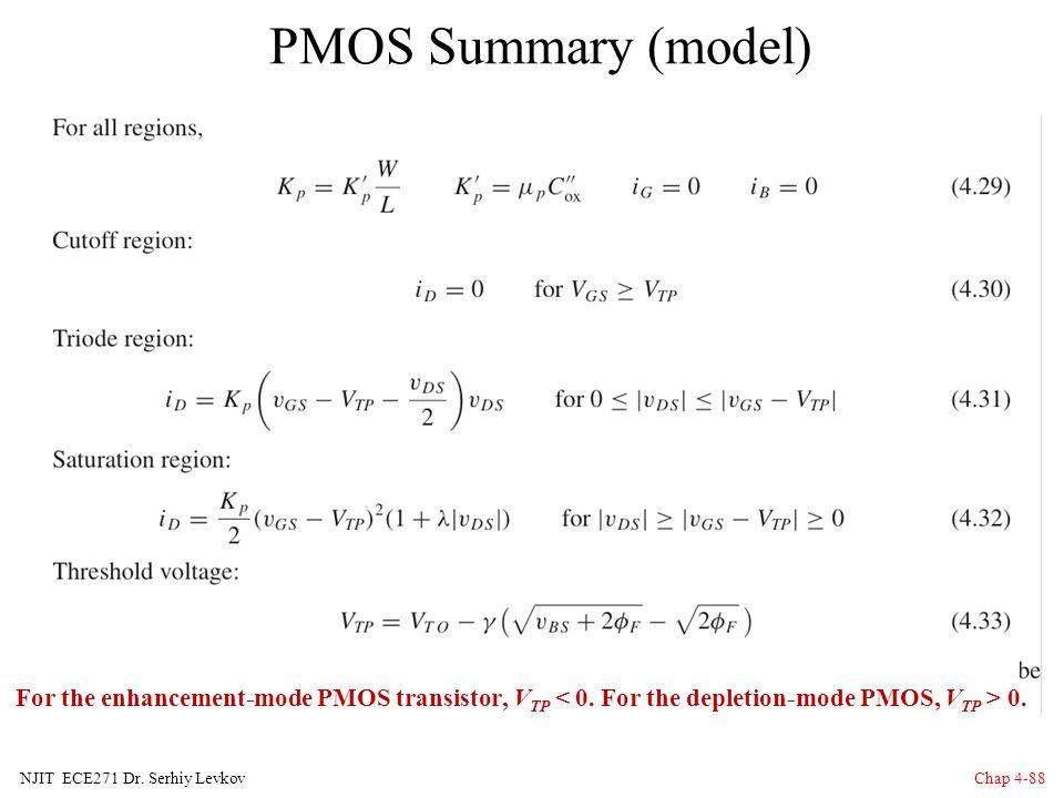 PMOS Summary (model) For the enhancement-mode PMOS transistor, VTP < 0. For the depletion-mode PMOS, VTP > 0.