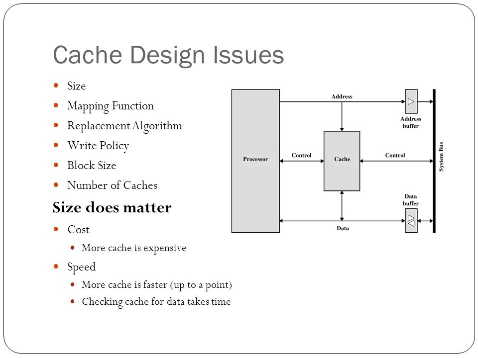 Cache Design Issues Size does matter Size Mapping Function