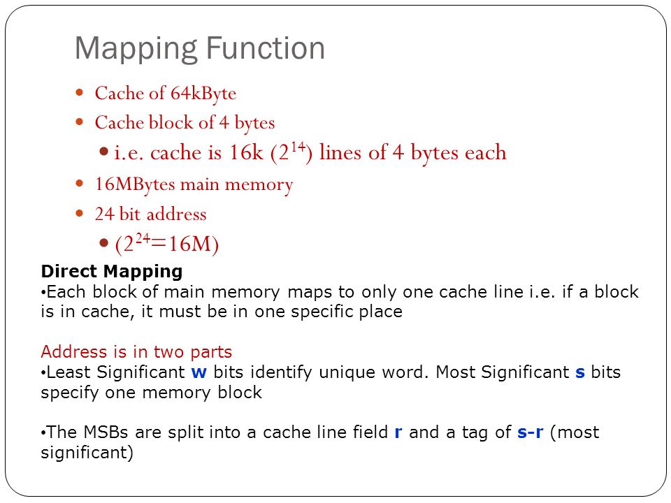 Mapping Function i.e. cache is 16k (214) lines of 4 bytes each