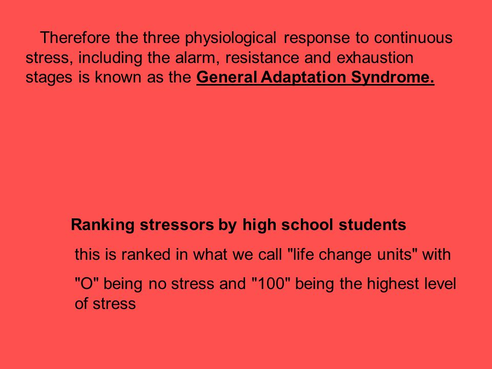 Ranking stressors by high school students
