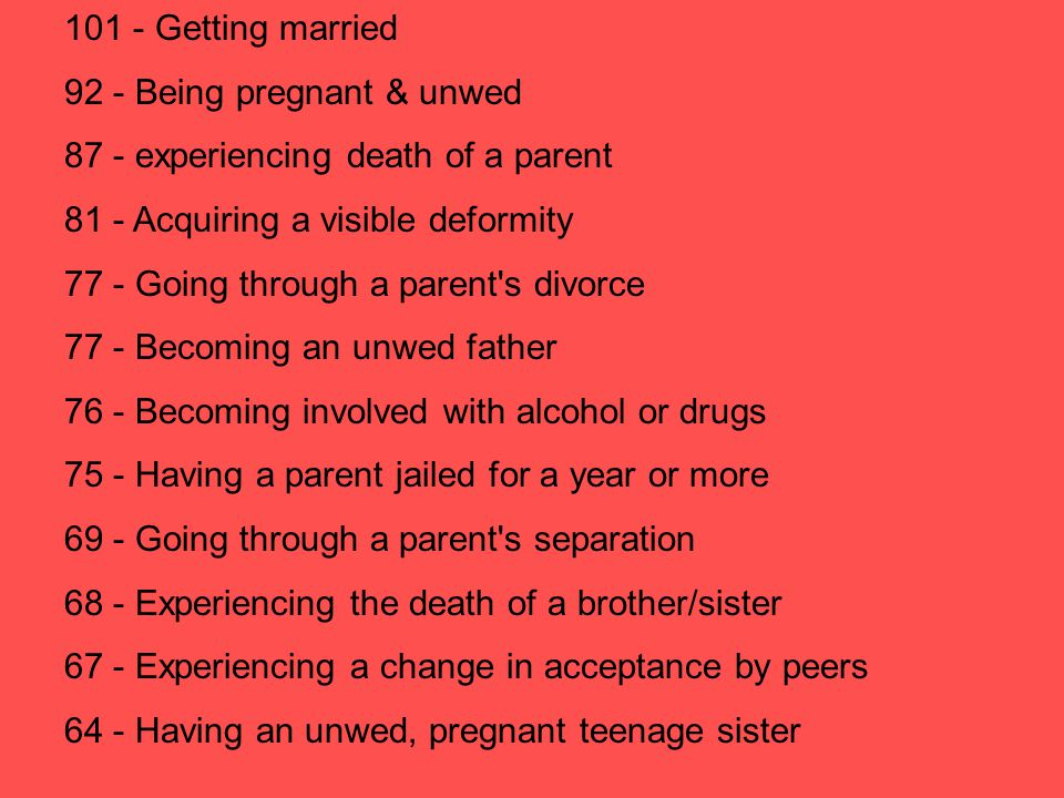 101 - Getting married 92 - Being pregnant & unwed. 87 - experiencing death of a parent. 81 - Acquiring a visible deformity.