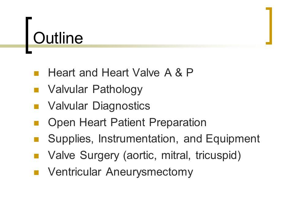 Outline Heart and Heart Valve A & P Valvular Pathology
