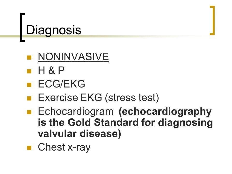 Diagnosis NONINVASIVE H & P ECG/EKG Exercise EKG (stress test)