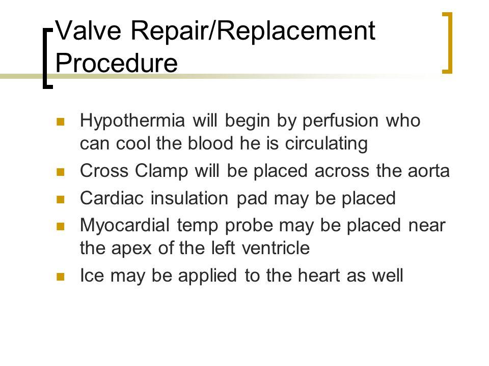 Valve Repair/Replacement Procedure