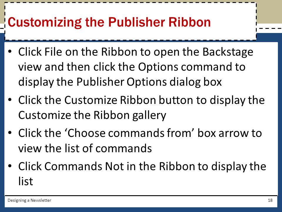 Customizing the Publisher Ribbon