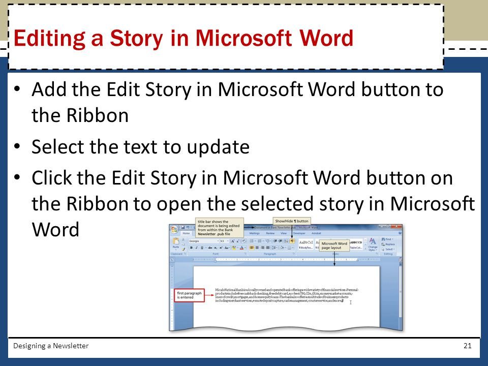 Editing a Story in Microsoft Word