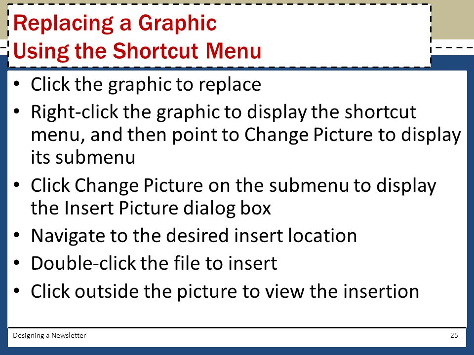 Replacing a Graphic Using the Shortcut Menu