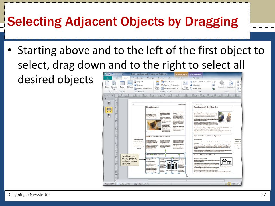 Selecting Adjacent Objects by Dragging
