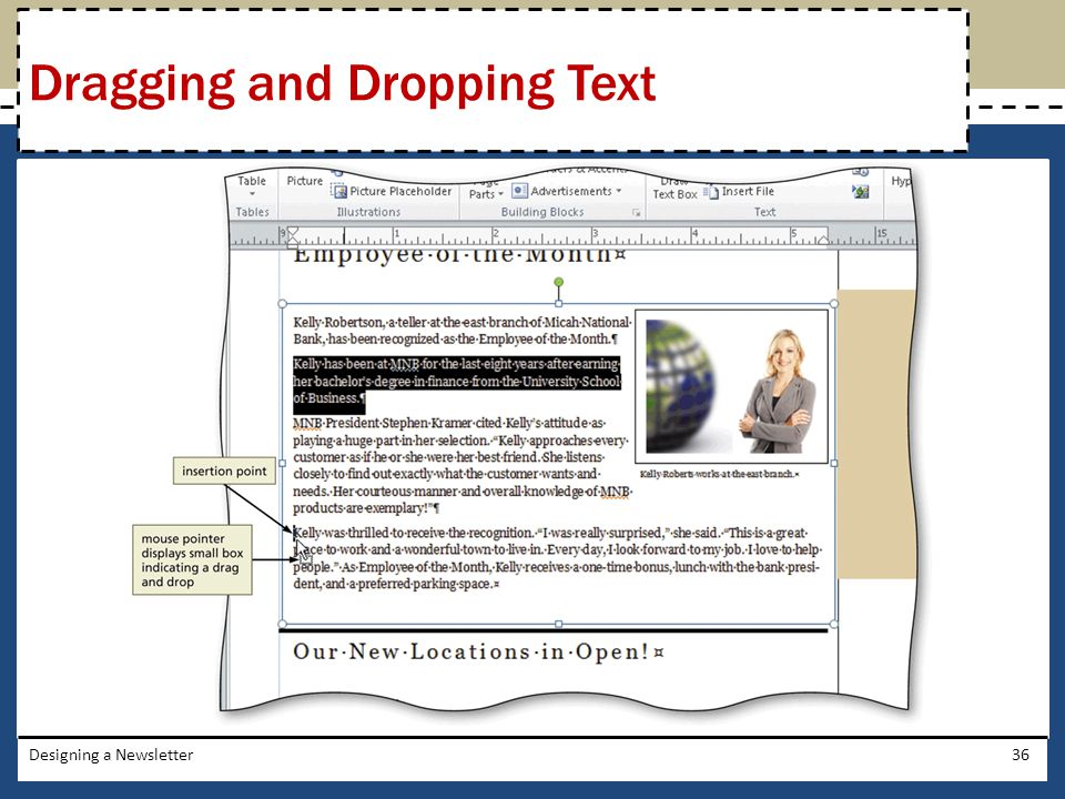 Dragging and Dropping Text