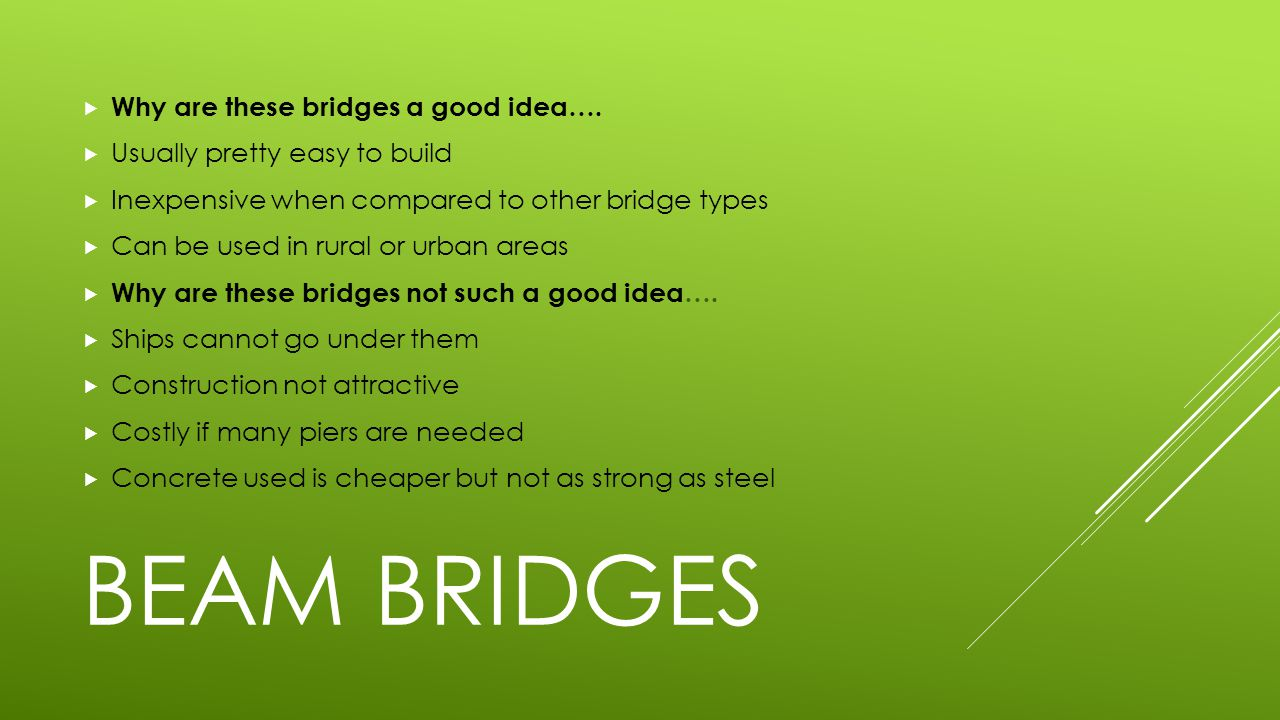 Beam Bridges Why are these bridges a good idea….
