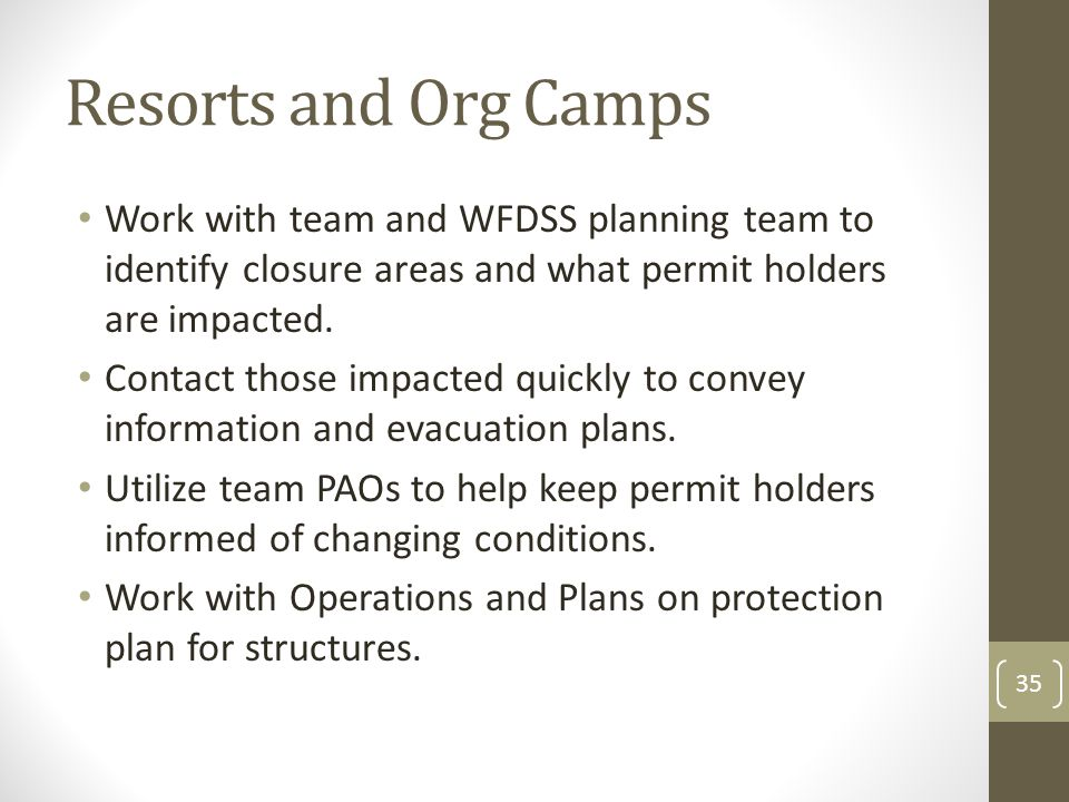 Resorts and Org Camps Work with team and WFDSS planning team to identify closure areas and what permit holders are impacted.