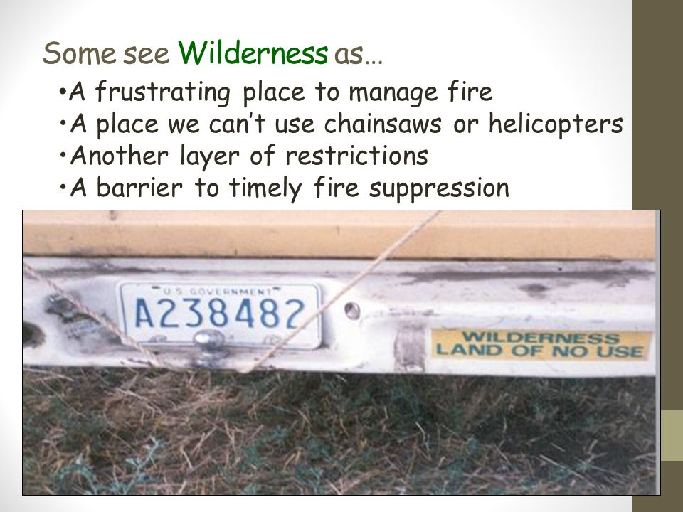 Some see Wilderness as…