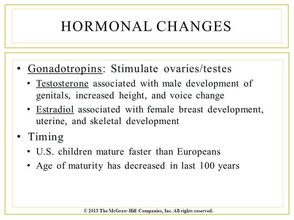 Hormonal Changes Gonadotropins: Stimulate ovaries/testes Timing