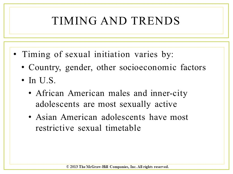 Timing and Trends Timing of sexual initiation varies by: