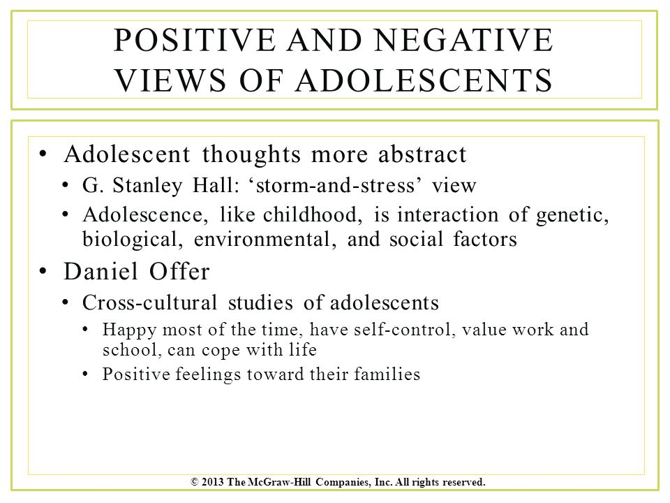 Positive and Negative Views of Adolescents