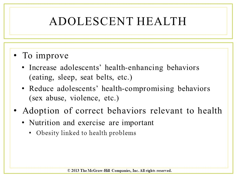 Adolescent Health To improve