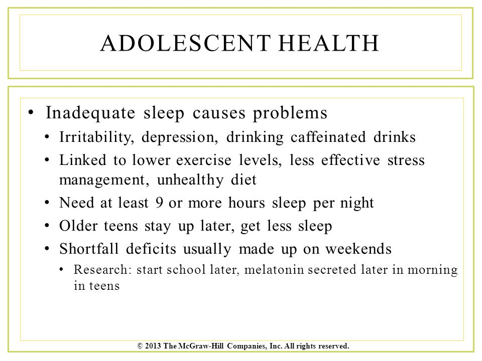 Adolescent Health Inadequate sleep causes problems