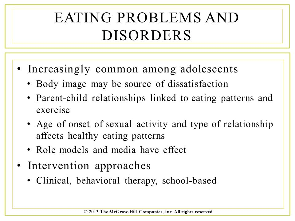 Eating Problems and Disorders