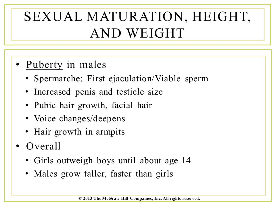 Sexual Maturation, Height, and Weight