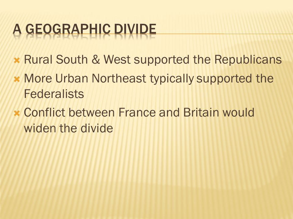 A Geographic Divide Rural South & West supported the Republicans
