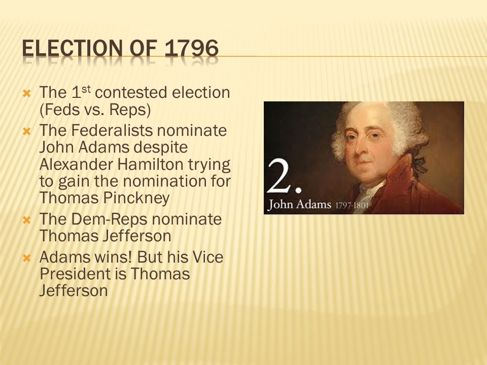 Election of 1796 The 1st contested election (Feds vs. Reps)