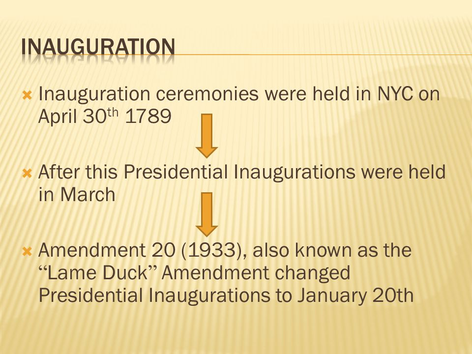 Inauguration Inauguration ceremonies were held in NYC on April 30th 1789. After this Presidential Inaugurations were held in March.