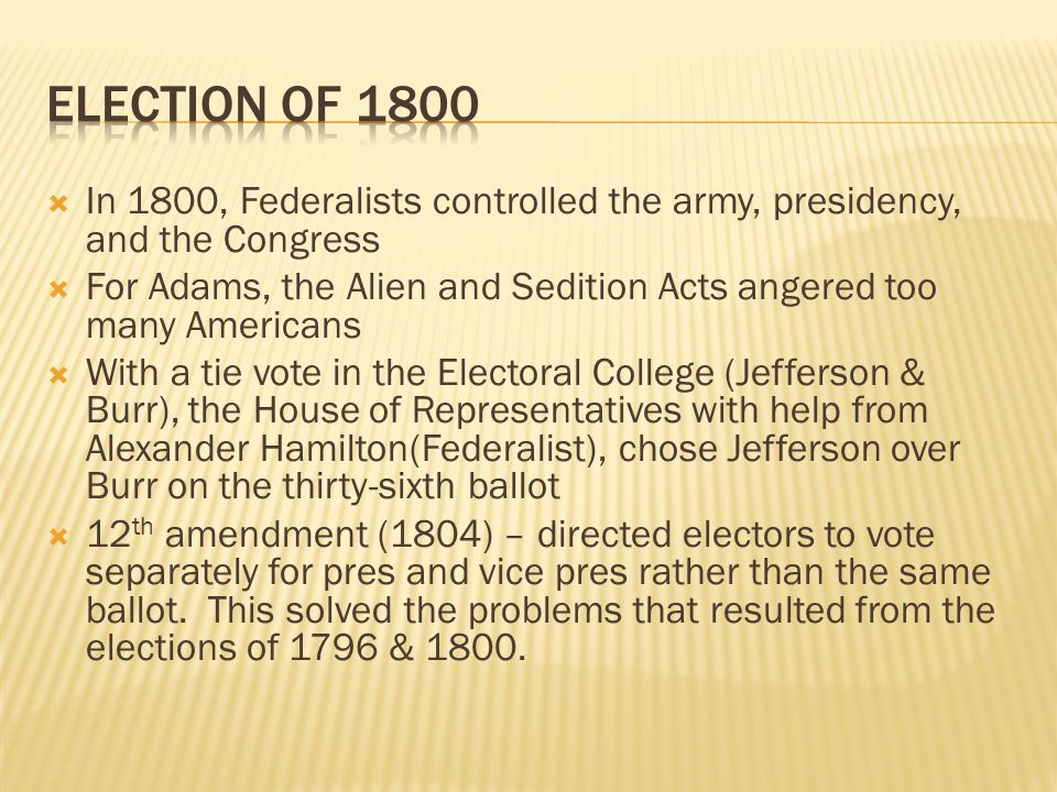 Election of 1800 In 1800, Federalists controlled the army, presidency, and the Congress.