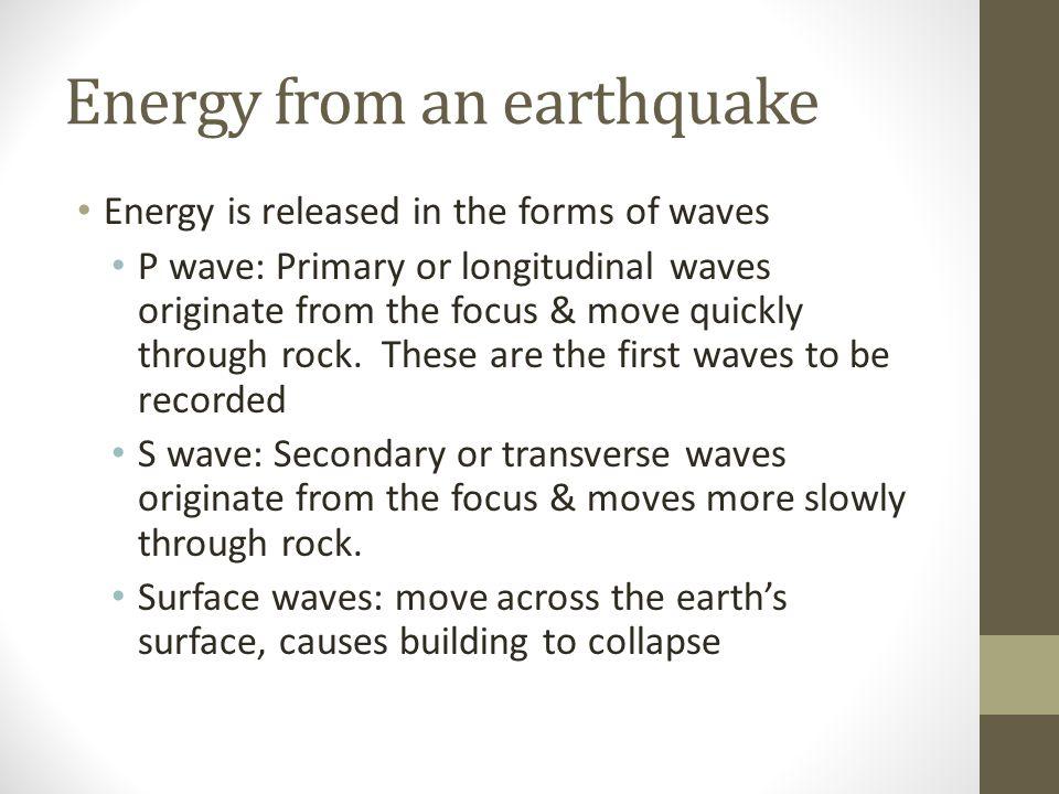Energy from an earthquake