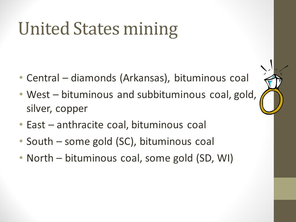 United States mining Central – diamonds (Arkansas), bituminous coal