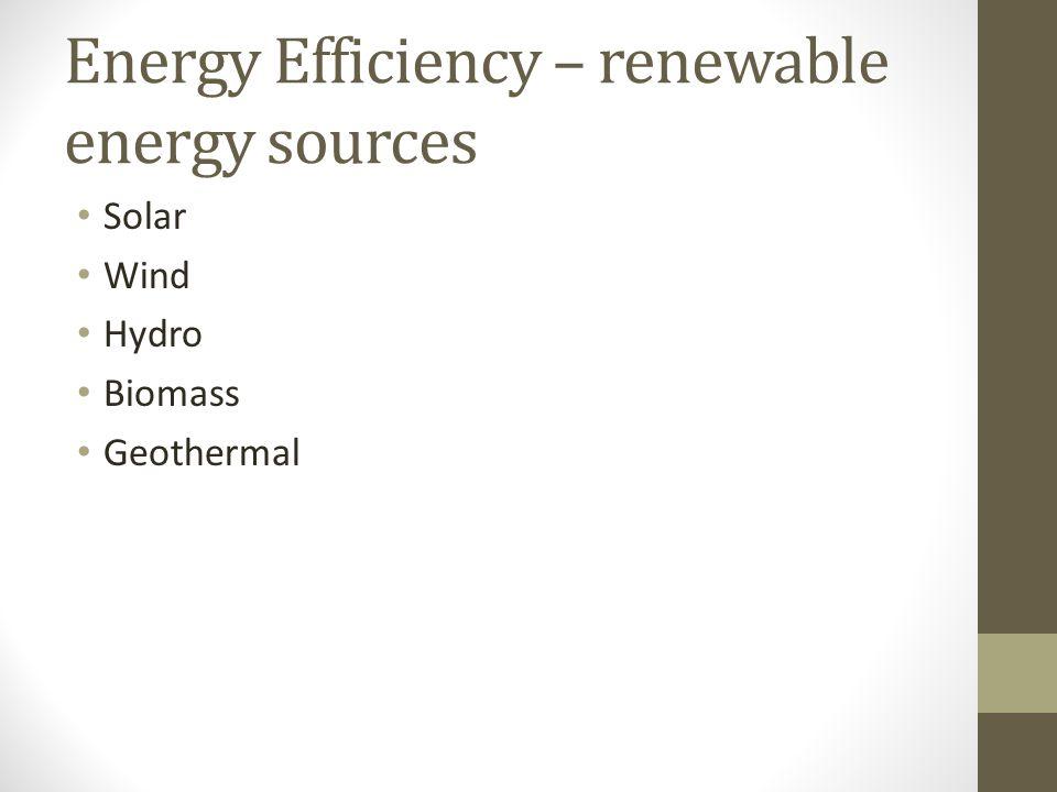 Energy Efficiency – renewable energy sources