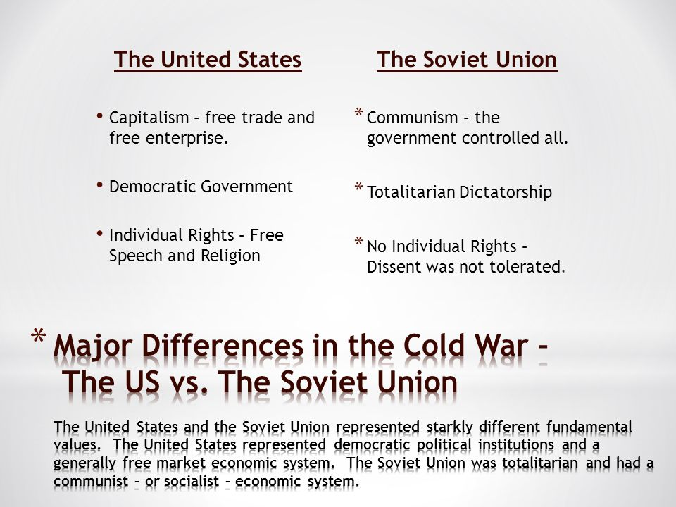 The United States The Soviet Union. Capitalism – free trade and free enterprise. Democratic Government.