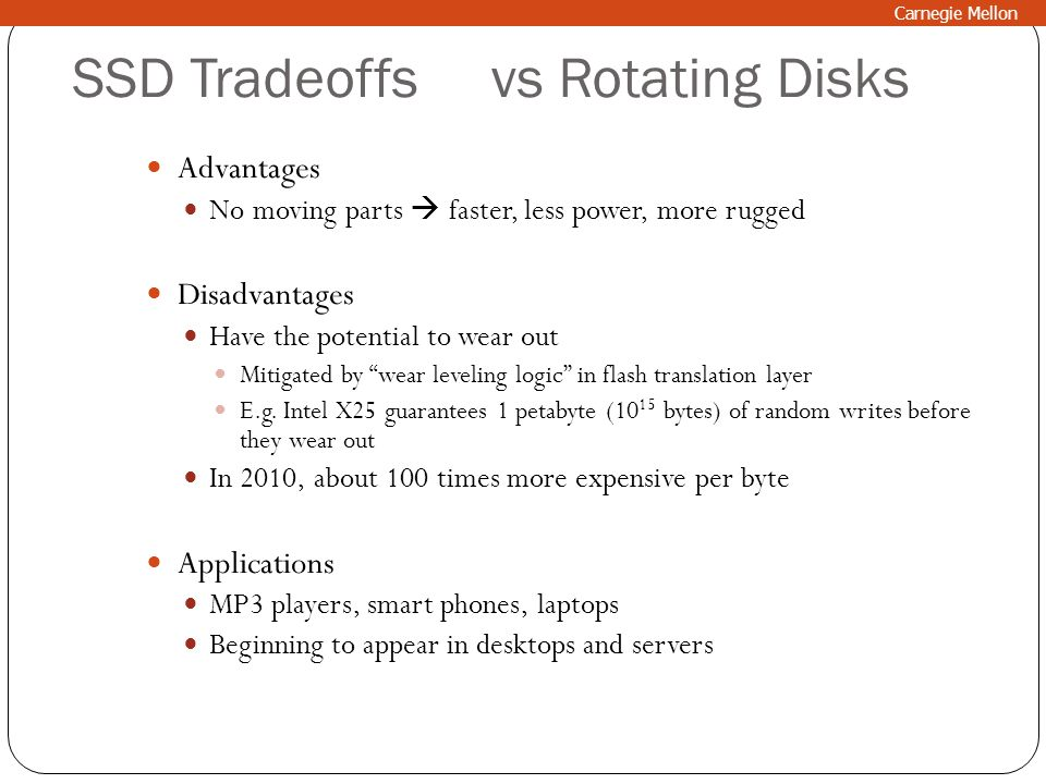 SSD Tradeoffs vs Rotating Disks