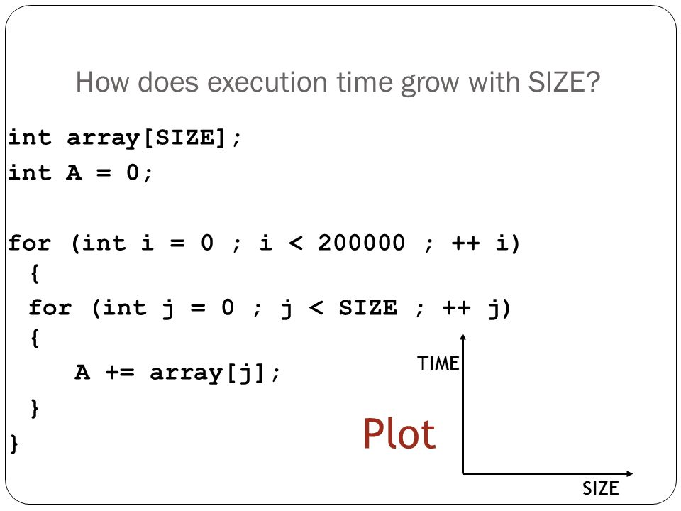 How does execution time grow with SIZE