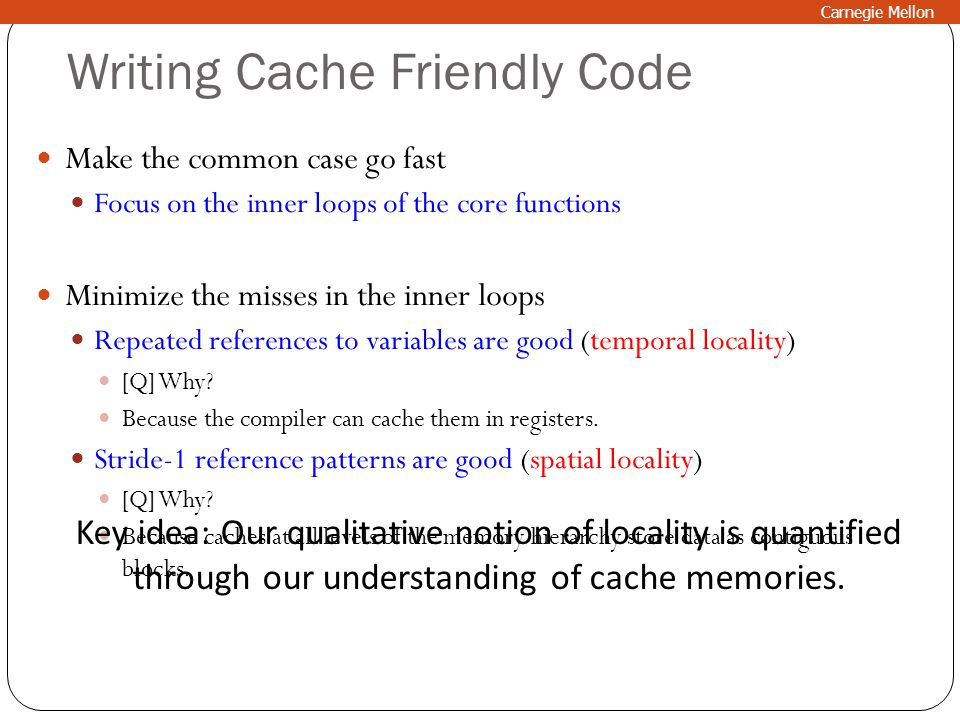 Writing Cache Friendly Code