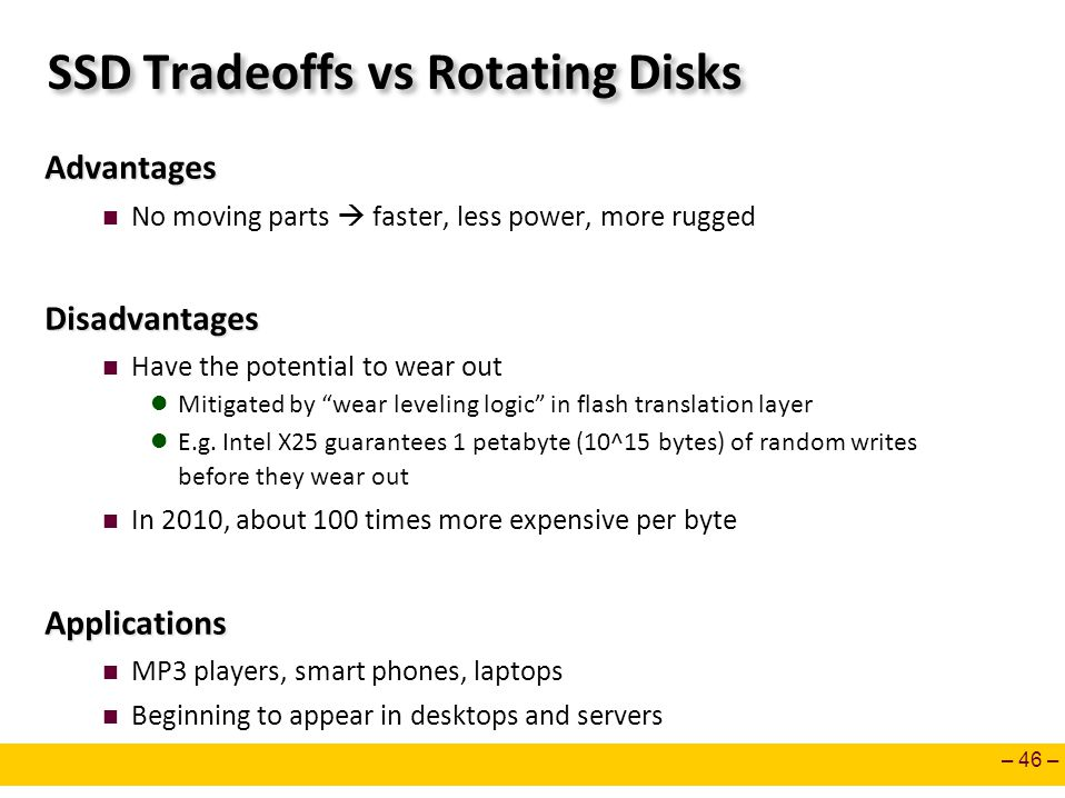 SSD Tradeoffs vs Rotating Disks