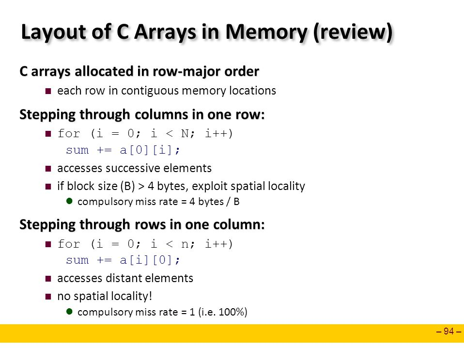 Layout of C Arrays in Memory (review)