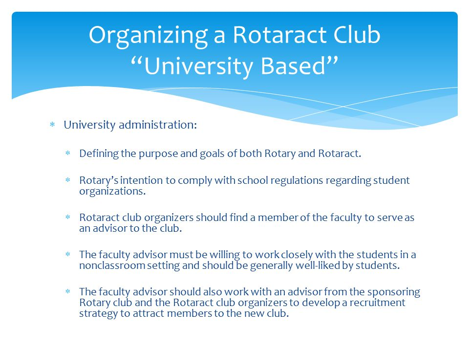Organizing a Rotaract Club University Based