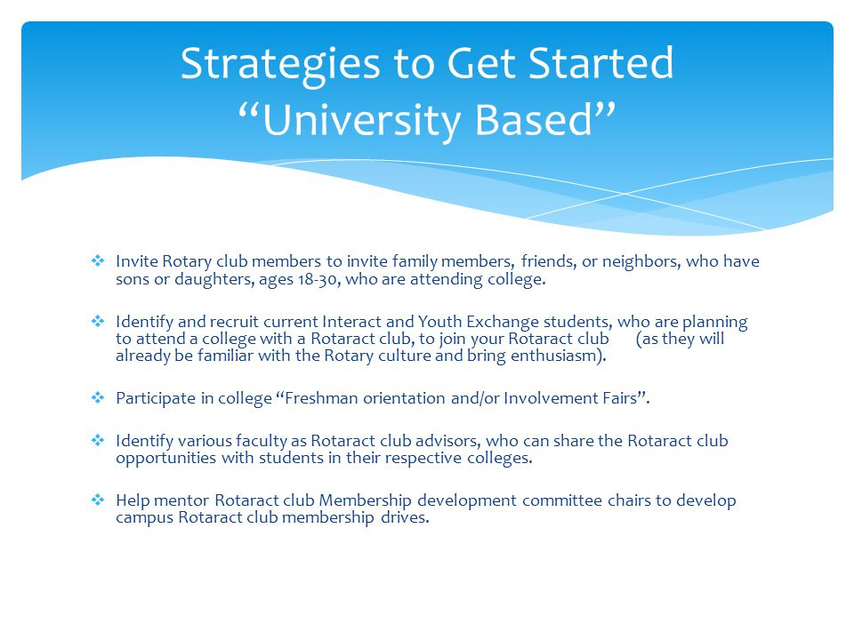 Strategies to Get Started University Based