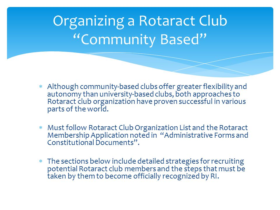 Organizing a Rotaract Club Community Based