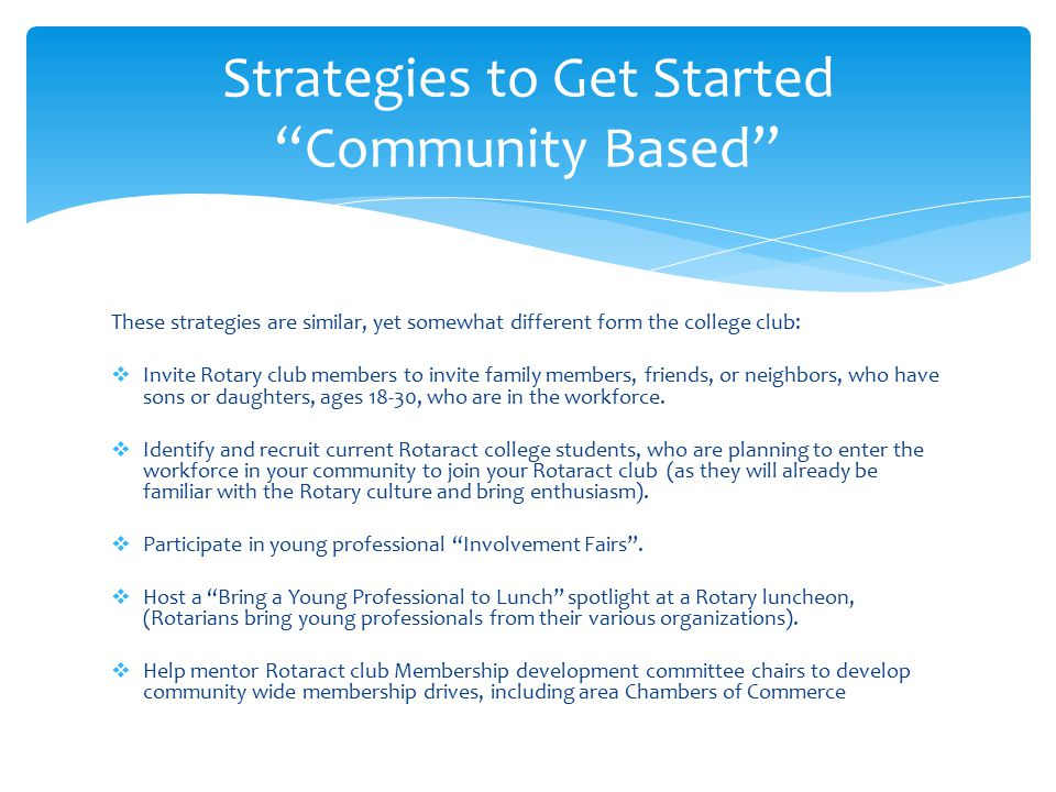Strategies to Get Started Community Based