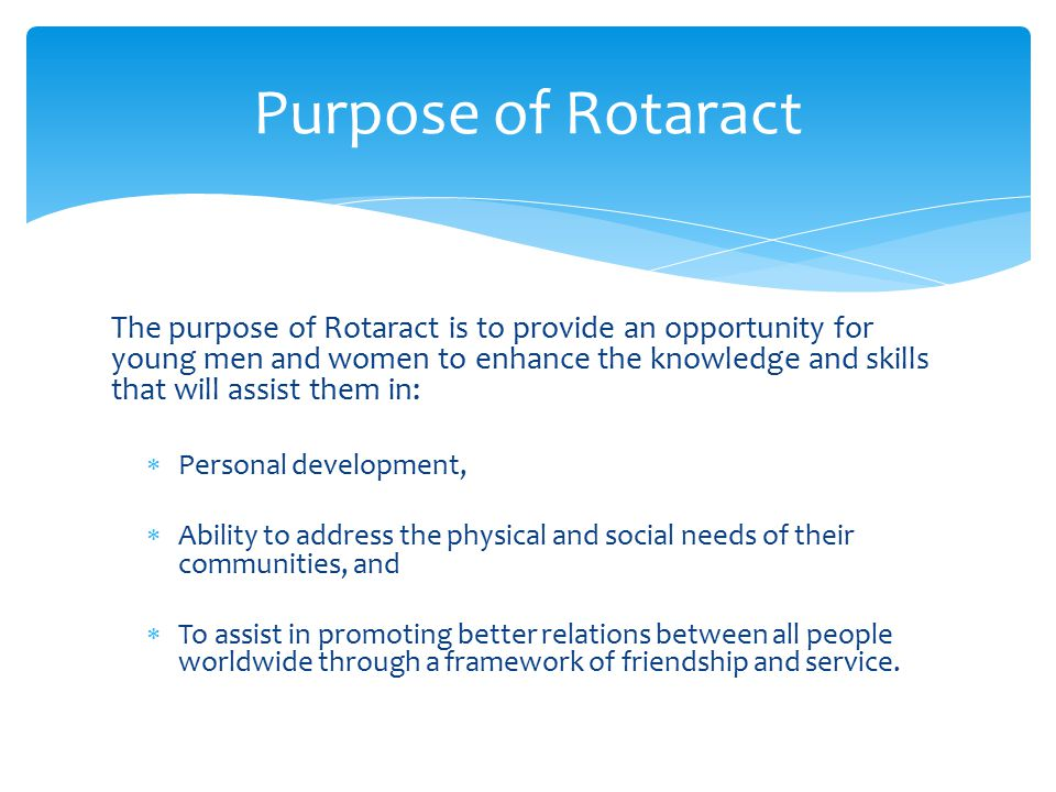 Purpose of Rotaract