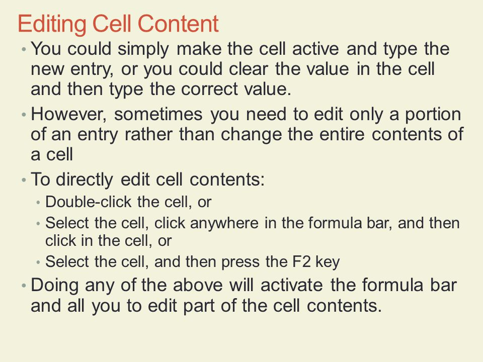 Editing Cell Content